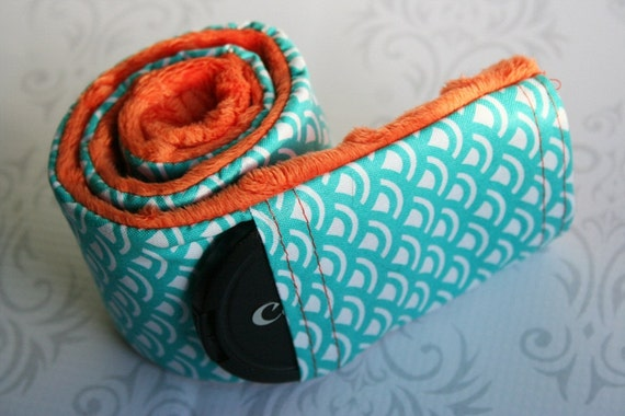 CLEARANCE Camera Strap Cover with Lens Cap Pocket - Padded Minky - Teal Graphic with Orange-Made to Order