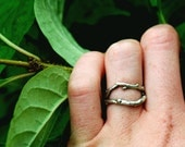 Double branch silver ring