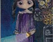 original mixed media painting girl steampunk owl blue purple flashlight goggles