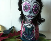 Art doll Dia de los Muertos OOAK Catrina cloth painted pillow day of the dead teal pink