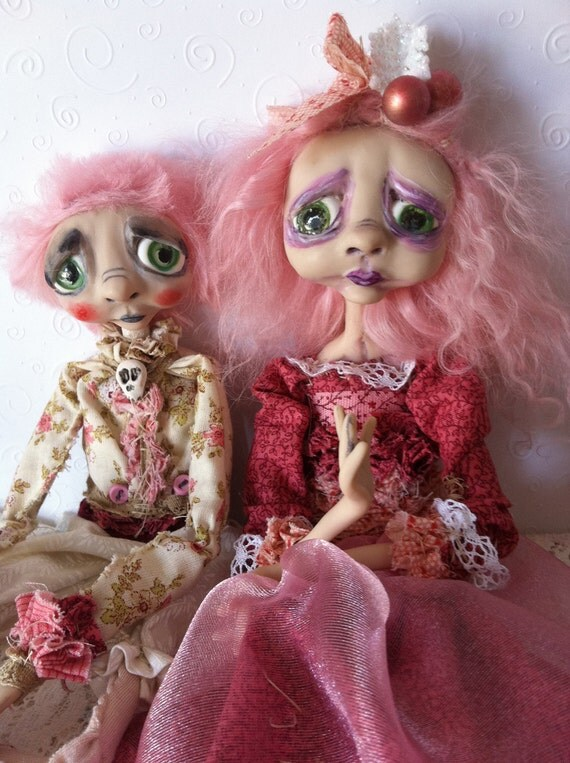 Goth Christmas Art Dolls OOAK Sad Pink Percy and Prissy Holiday dolls RESERVED Balance for Julie