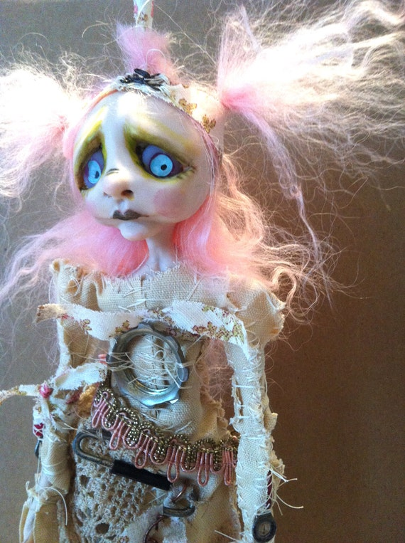 Steampunk Zombie Art Doll Goth wall hanging post apocalyptic doll OOAK Narcissa RESERVED Balance for Nancy