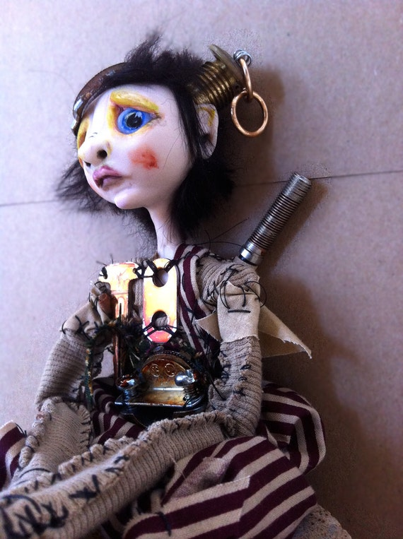 Art Doll Steampunk post apocalyptic Sad Christmas boy doll Remy RESERVED Balance for Julie