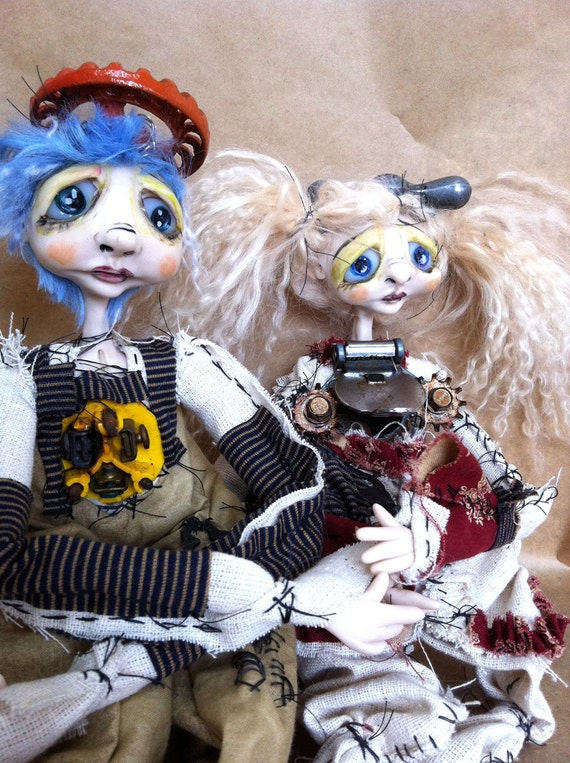 Steampunk Art Dolls Sad post apocalyptic couple Goth boy and girl dolls Jasper and January RESERVED