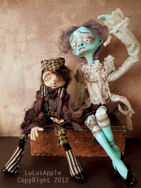 Art Dolls Victorian Goth Creepy Corpse OOAK boy dolls Benny and Boyd RESERVED