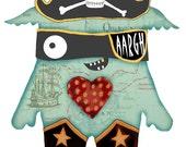 Cute little Monster Print pirate monster 5x7