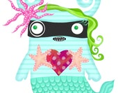 Cute little monster mermaid print- 5 x 7- mermonster