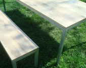 Parsons Table White Oak and Steel Table and Bench Wood Table Dining Table Set Table and Bench Set
