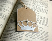 Silver Crown with Pearl Accent Hang Tag Set of 6 - silver ink stamped - gift tag, label, holiday