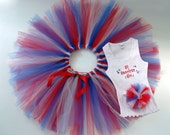 Red White and Blue American Girl custom personalized Tutu Set for baby or girl
