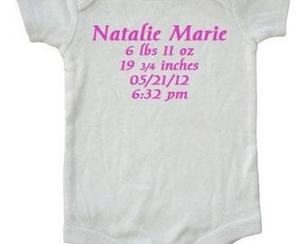 Birth Announcement custom personalized baby clothing bodysuit newborn