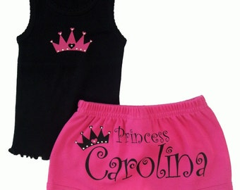 Personalized Princess custom boutique diaper cover and top set
