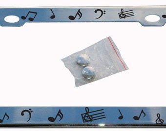 Custom personalized music notes METAL license plate frame