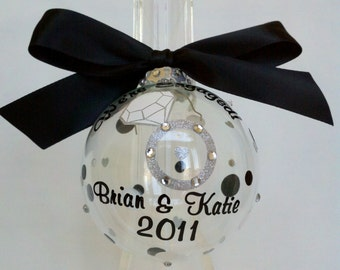 Engagement ornament personalized for bride and groom wedding christmas gift