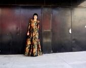 Vintage Oscar de la Renta Floral Metallic Evening Gown Red Carpet Dress