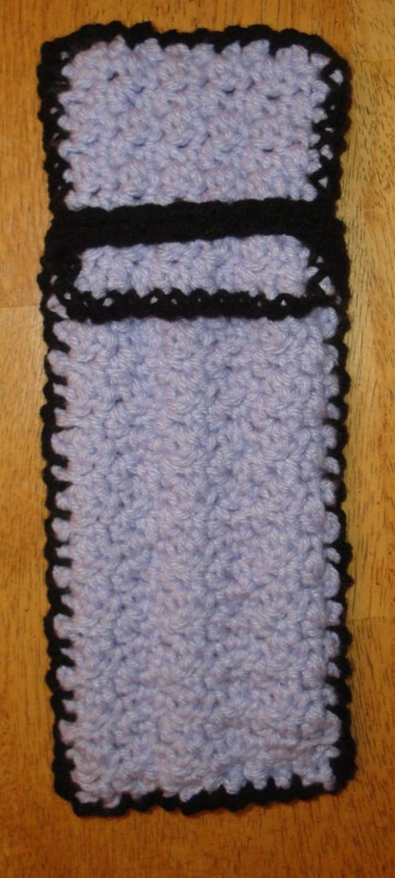 Resevered Listing - Lilac and Black Glass Straw Pouch