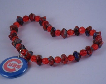 OOAK stretchy Red Blue Chicago Cubs bracelet Logo Charm