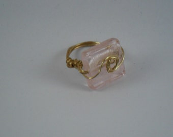 OOAK Handcrafted Brass wirewrapped Pink Murano bead Ring