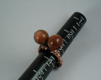 OOAK twisty Goldstone gemstones pinkie ring