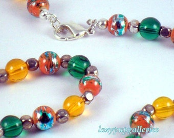 OOAK 20 inch necklace basic colors orange and greens