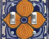TALAVERA TILE Yellow Flower Sunset Switch Plate (single or double)  - - FREE Shipping - -