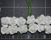 24--WHITE Colored paper mini roses