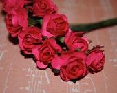 24--Fushia Colored mini paper roses