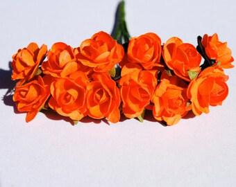 24--Orange- Beautiful mini paper flowers