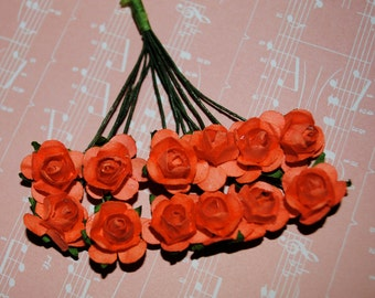 24-- CORAL--Beautiful Colored mini paper roses