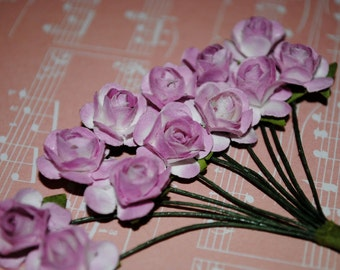 24--Lavender (two tone) Colored mini paper roses