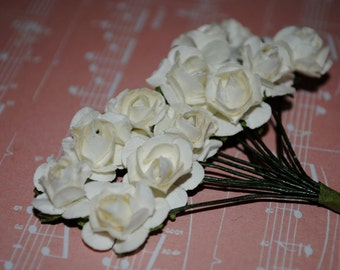 24-- Ivory- Beautiful Colored mini paper roses