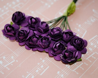 24--Dark purple--Beautiful Colored paper mini roses