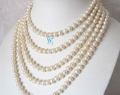 White Pearl Necklace - 90 inches 7-8mm White Freshwater Pearl Long Necklace - Free shipping