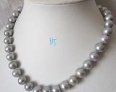 Pearl Necklace - 18 inches 11-12mm Silver Gray Freshwater Pearl Necklace - Free shipping
