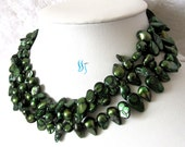 Pearl Necklace - 49 inches 7-8mm Dark Green Baroque Freshwater Pearl Long Necklace - Free shipping