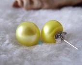 Pearl Earrings - AAA 9.5-10.0mm Yellow Freshwater Pearl Stud Earrings - Free shipping