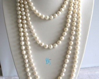 Pearl Necklace -100 inch 9-10mm White Freshwater Pearl Long Necklace - Free shipping