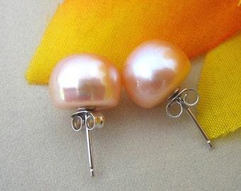 Pearl Earrings - AAA 11.0-11.5mm Peach Pink Freshwater Pearl Stud Earrings - Free shipping