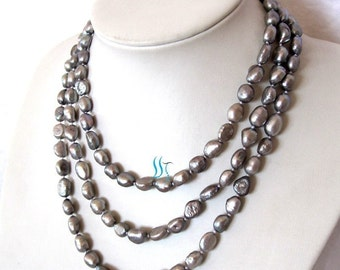 Pearl Necklace - 54 inches 7-8mm Gray Baroque Freshwater Pearl Long Necklace Z - Free shipping