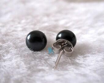 Black Pearl Earrings - AAA 6.5-7.0mm Black Freshwater Pearl Stud Earrings - Free shipping