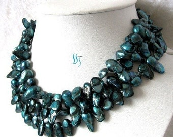 Pearl Necklace - 49 inches 7-8mm Teal/Blue Baroque Freshwater Pearl Long Necklace - Free shipping