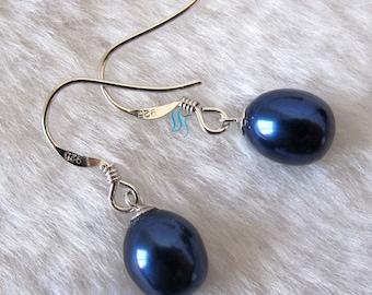 Dangle Earrings - 8.5-10.0mm Navy Freshwater Pearl Dangle Earrings D2S - Free shipping