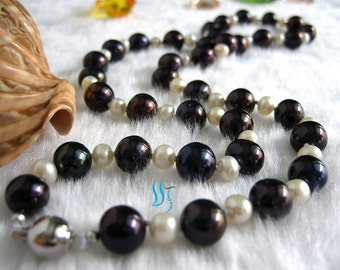 Pearl Necklace - Gorgeous 22 inches White and  Black Freshwater Pearl Necklace - Free shipping