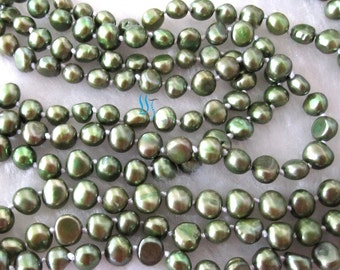 Pearl Necklace - 70 inch 6-7mm Dark Green Baroque Freshwater Pearl Long Necklace - Free shipping