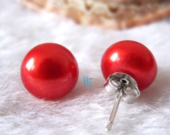 Pearl Earrings - AAA 10.0-10.5mm Coral Red Freshwater Pearl Stud Earrings - Free shipping