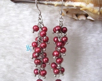 Pearl Cluster Earrings - 4-5mm Dark Red Freshwater Pearl Cluster Earrings D11S - Free shipping