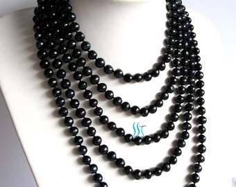 Black Pearl Necklace - 100 inches 7-8mm Black Freshwater Pearl Necklace - Free shipping