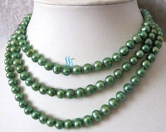 Pearl Necklace - 50 inch 7-8mm Green  Freshwater Pearl Long Necklace - Free shipping