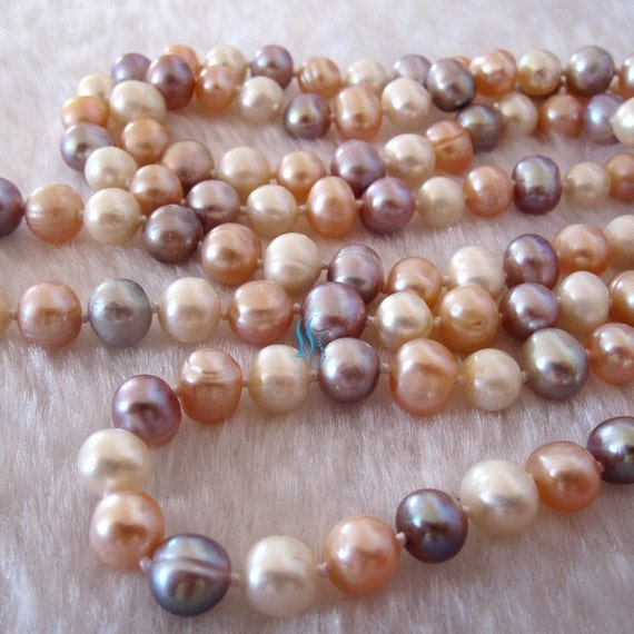 Free shipping - 54 inch 8-9mm White Pink Lavender Freshwater Pearl Long Necklace