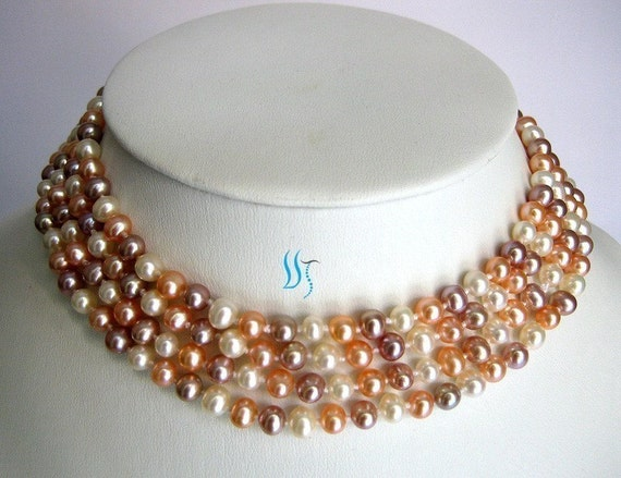 Pearl Necklace - 54 inch 7-8mm Multi Color Freshwater Pearl Rope Necklace - Free shipping